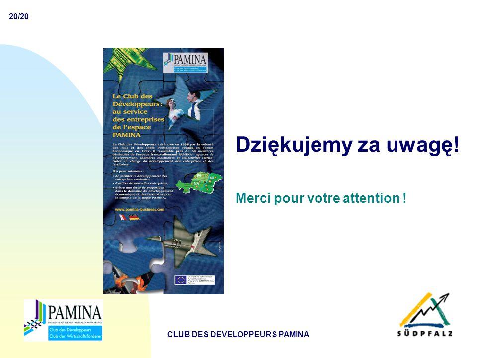 20/20 CLUB DES DEVELOPPEURS PAMINA Dziękujemy za uwagę! Merci pour votre attention !