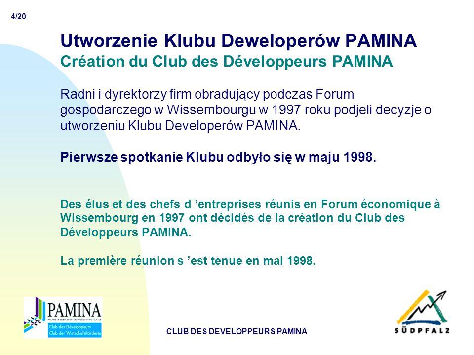 15/20 CLUB DES DEVELOPPEURS PAMINA PEP – Promocja przestrzeni PAMINA IMAGE  Na finansowanie projektu PEP przeznaczono 300 tyś.