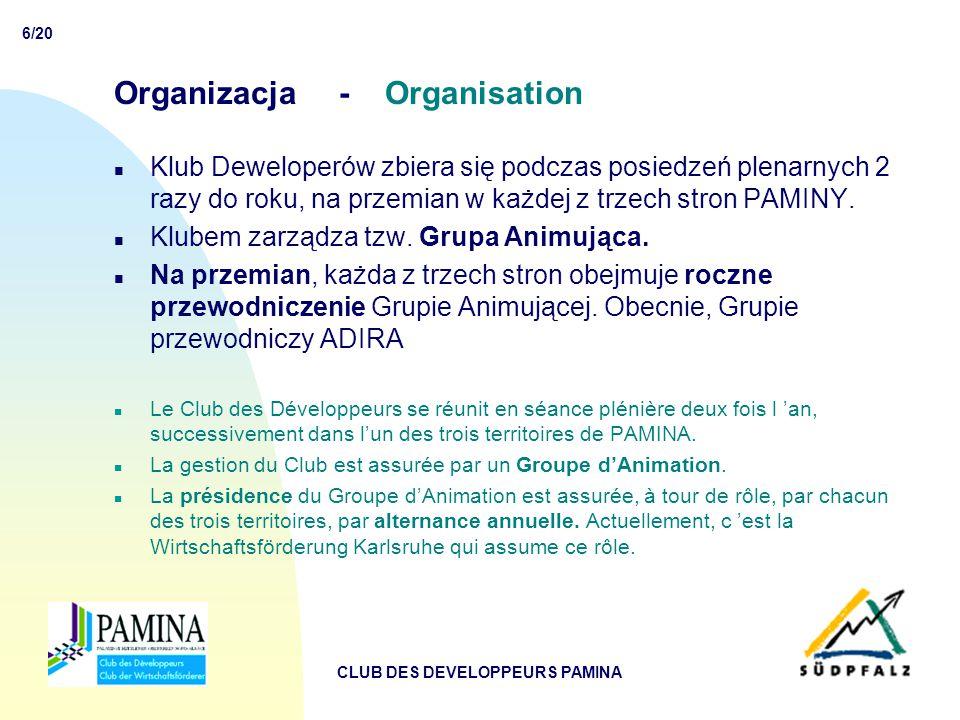 6/20 CLUB DES DEVELOPPEURS PAMINA Organizacja - Organisation n Klub Deweloperów zbiera się podczas posiedzeń plenarnych 2 razy do roku, na przemian w każdej z trzech stron PAMINY.