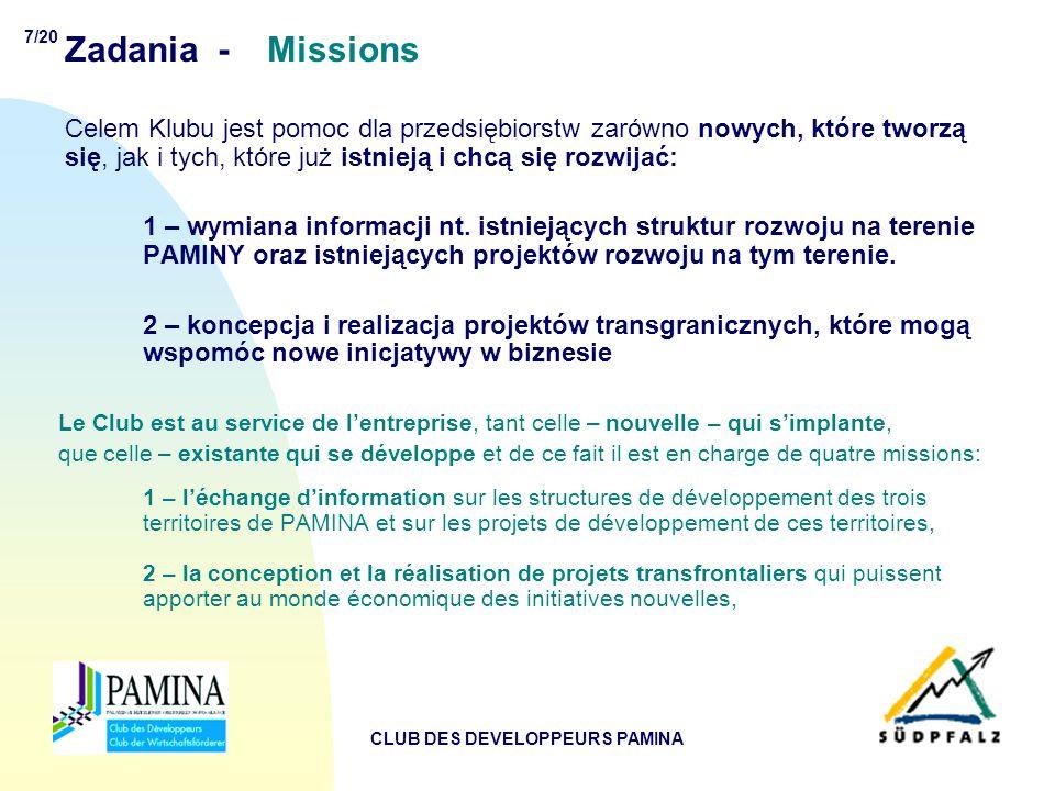 7/20 CLUB DES DEVELOPPEURS PAMINA Zadania - Missions Celem Klubu jest pomoc dla przedsiębiorstw zarówno nowych, które tworzą się, jak i tych, które już istnieją i chcą się rozwijać: 1 – wymiana informacji nt.