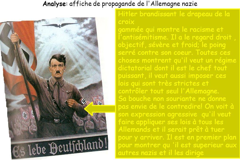 Les nazis suivent Hitler, ils le saluent en brandissant des drapeaux nazis et en levant le bras droit.