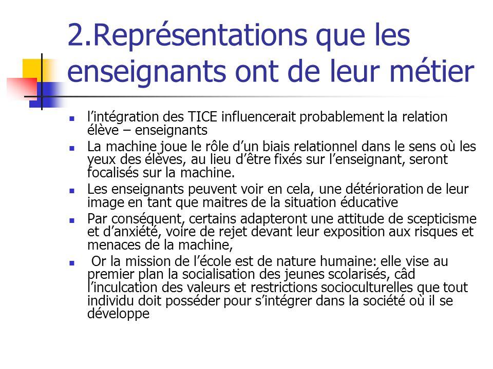 2.Représentations que les enseignants ont de leur métier l'intégration des TICE influencerait probablement la relation élève – enseignants La machine joue le rôle d'un biais relationnel dans le sens où les yeux des élèves, au lieu d'être fixés sur l'enseignant, seront focalisés sur la machine.