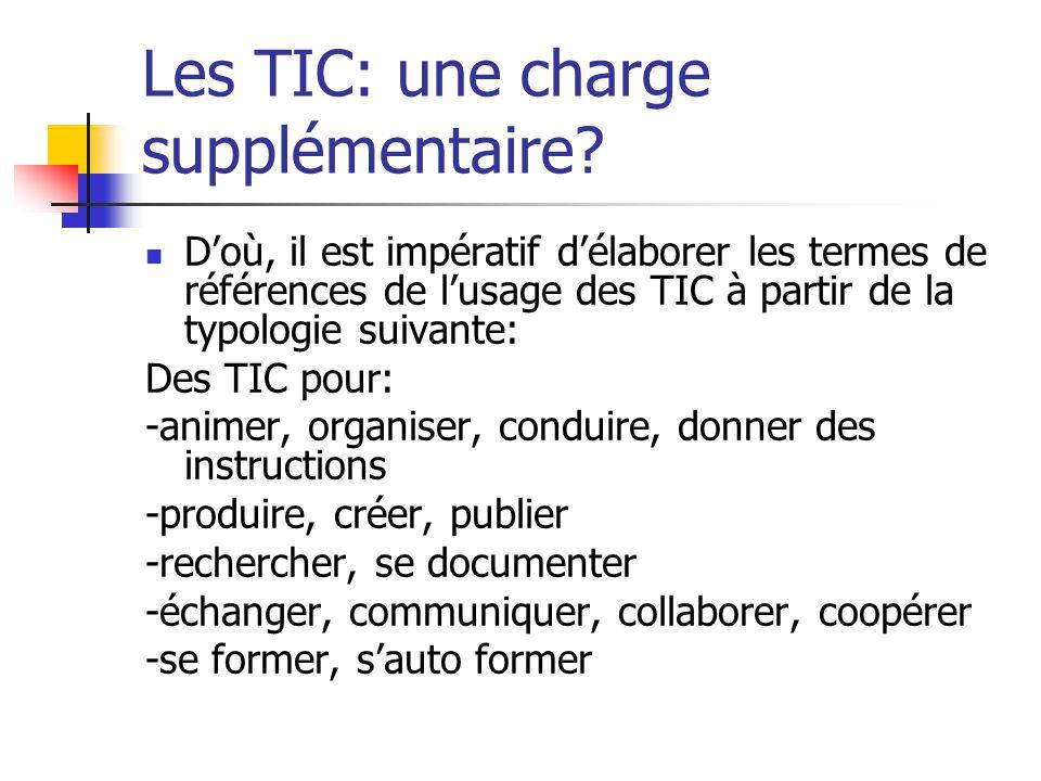 Les TIC: une charge supplémentaire.