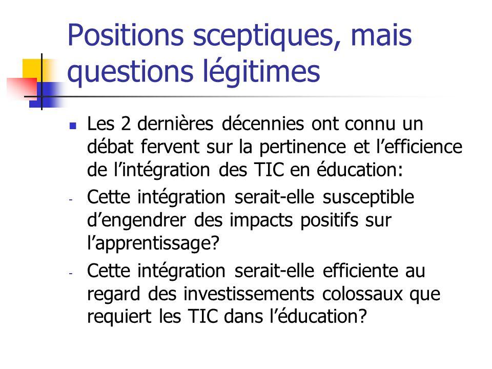 Positions sceptiques, mais questions légitimes Les 2 dernières décennies ont connu un débat fervent sur la pertinence et l'efficience de l'intégration des TIC en éducation: - Cette intégration serait-elle susceptible d'engendrer des impacts positifs sur l'apprentissage.