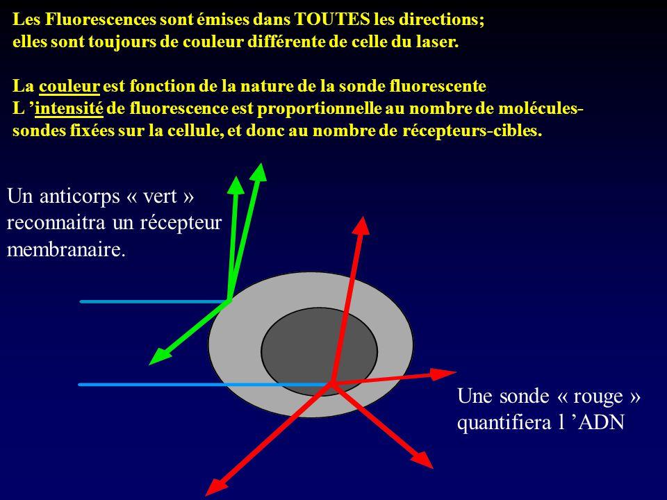 Les Fluorescences sont émises dans TOUTES les directions; elles sont toujours de couleur différente de celle du laser. La couleur est fonction de la n