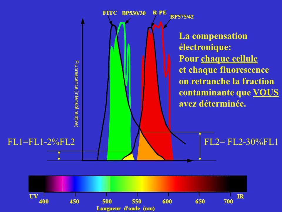 400450500550600650700 UVIR FL2= FL2-30%FL1FL1=FL1-2%FL2 La compensation électronique: Pour chaque cellule et chaque fluorescence on retranche la fract