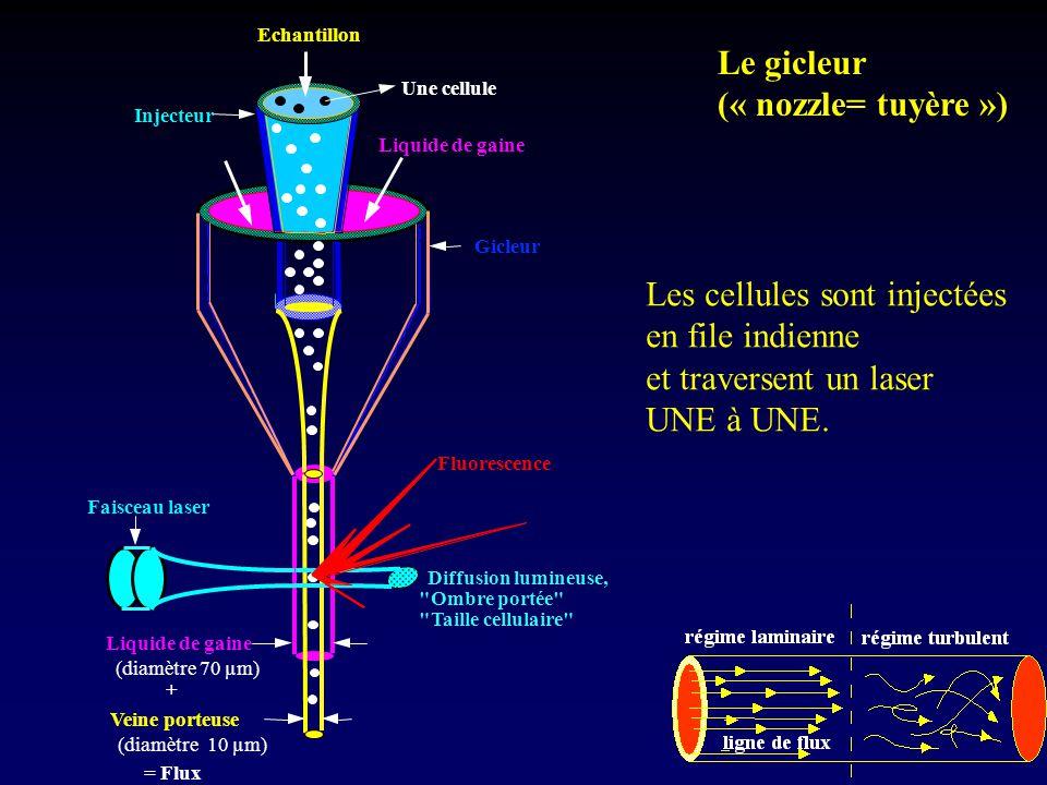 Echantillon Liquide de gaine Injecteur Une cellule Gicleur Faisceau laser Liquide de gaine Veine porteuse (diamètre 70 µm) (diamètre 10 µm) = Flux + D