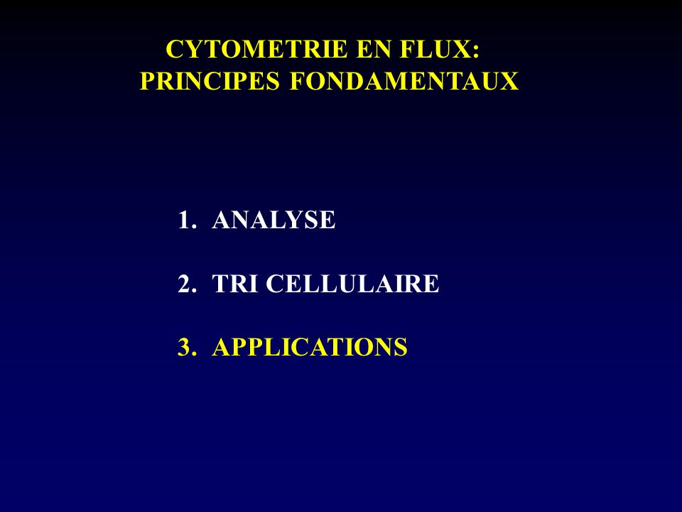 CYTOMETRIE EN FLUX: PRINCIPES FONDAMENTAUX 1.ANALYSE 2.TRI CELLULAIRE 3.APPLICATIONS