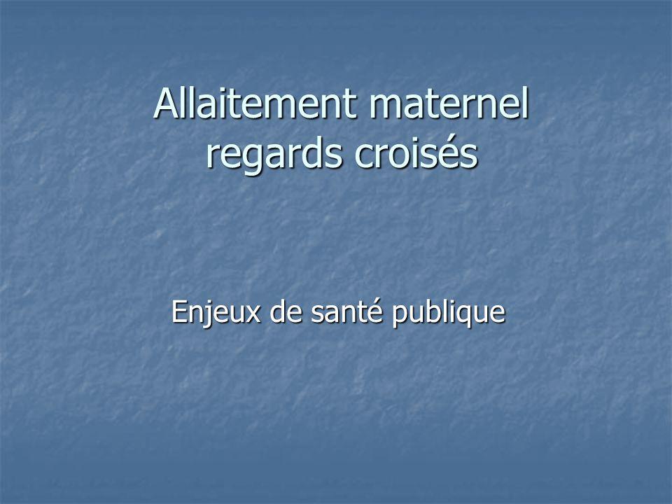 Allaitement maternel regards croisés Enjeux de santé publique