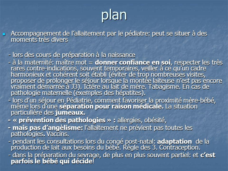 plan Accompagnement de l'allaitement par le pédiatre: peut se situer à des moments très divers Accompagnement de l'allaitement par le pédiatre: peut s