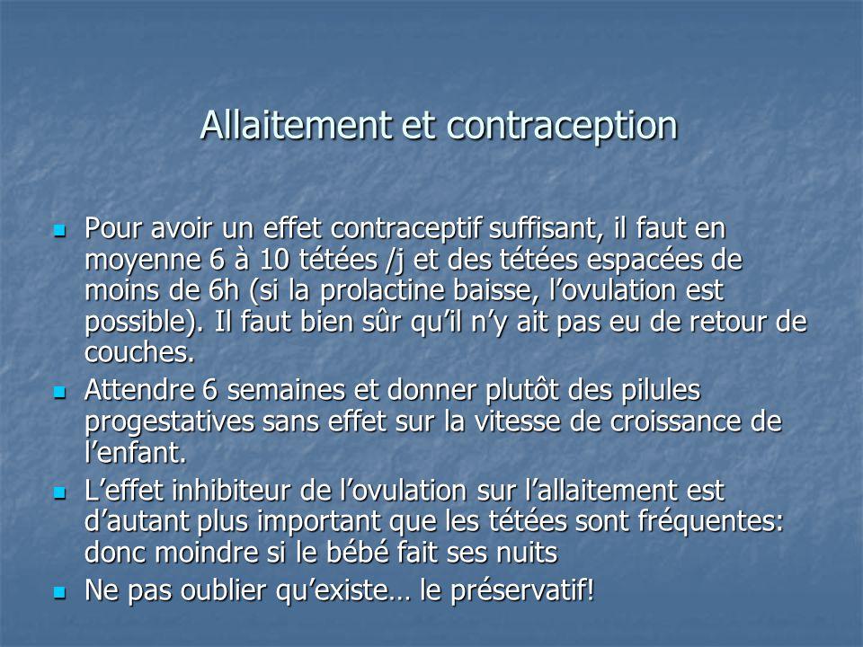 Allaitement et contraception Pour avoir un effet contraceptif suffisant, il faut en moyenne 6 à 10 tétées /j et des tétées espacées de moins de 6h (si