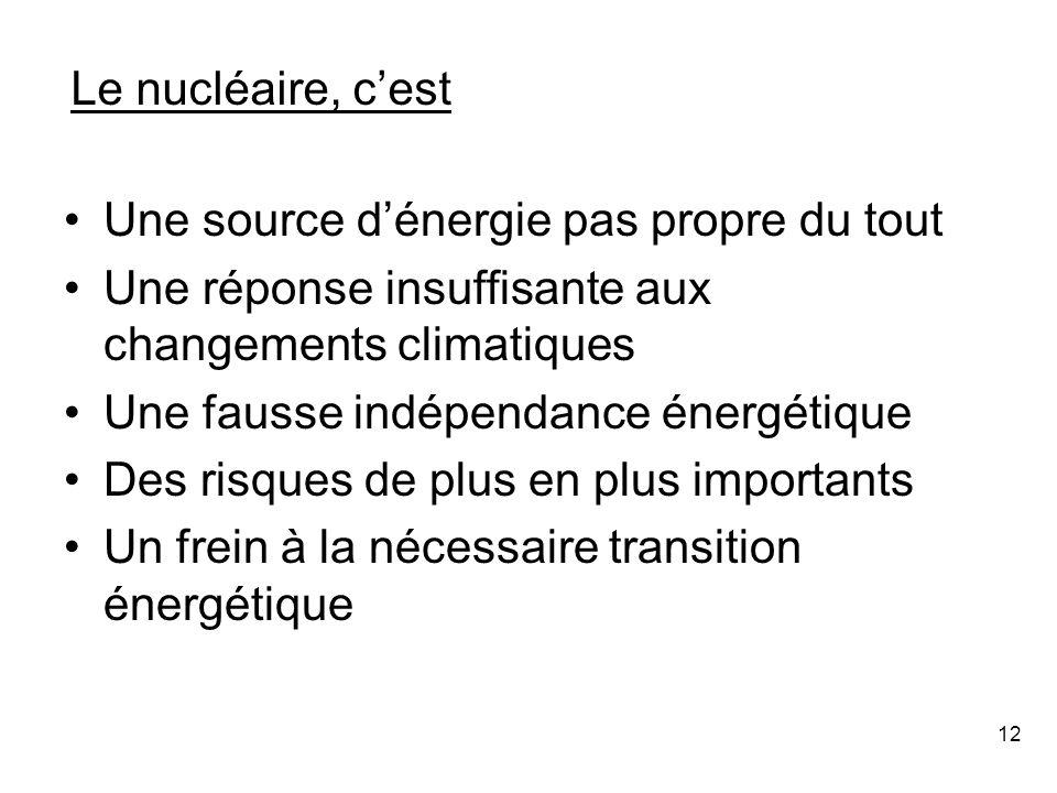 12 Une source d'énergie pas propre du tout Une réponse insuffisante aux changements climatiques Une fausse indépendance énergétique Des risques de plus en plus importants Un frein à la nécessaire transition énergétique Le nucléaire, c'est