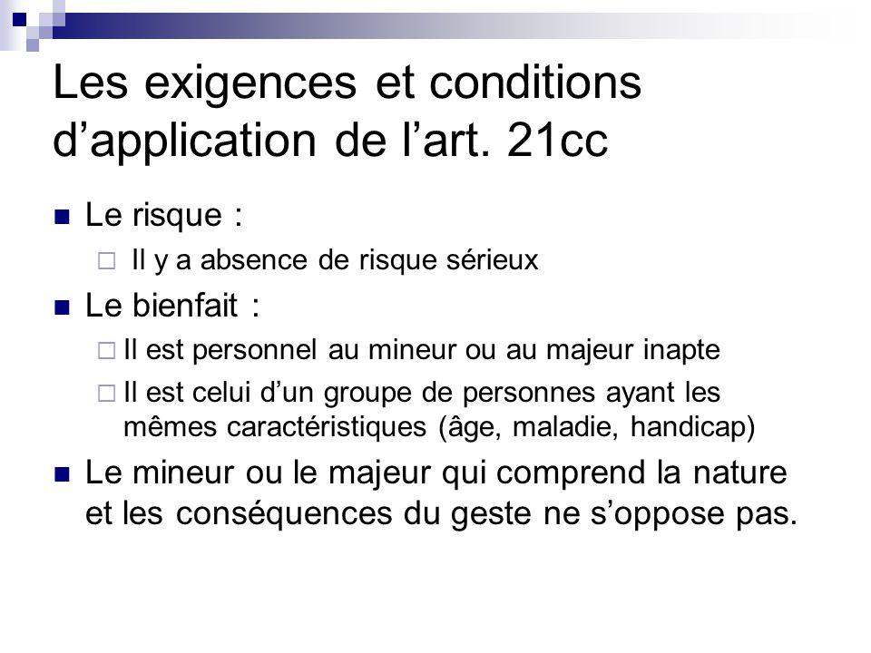 Les exigences et conditions d'application de l'art.