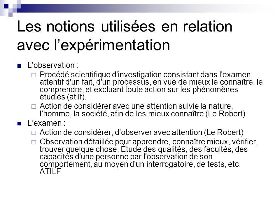Les notions utilisées en relation avec l'expérimentation L'observation :  Procédé scientifique d investigation consistant dans l examen attentif d un fait, d un processus, en vue de mieux le connaître, le comprendre, et excluant toute action sur les phénomènes étudiés (atilf).