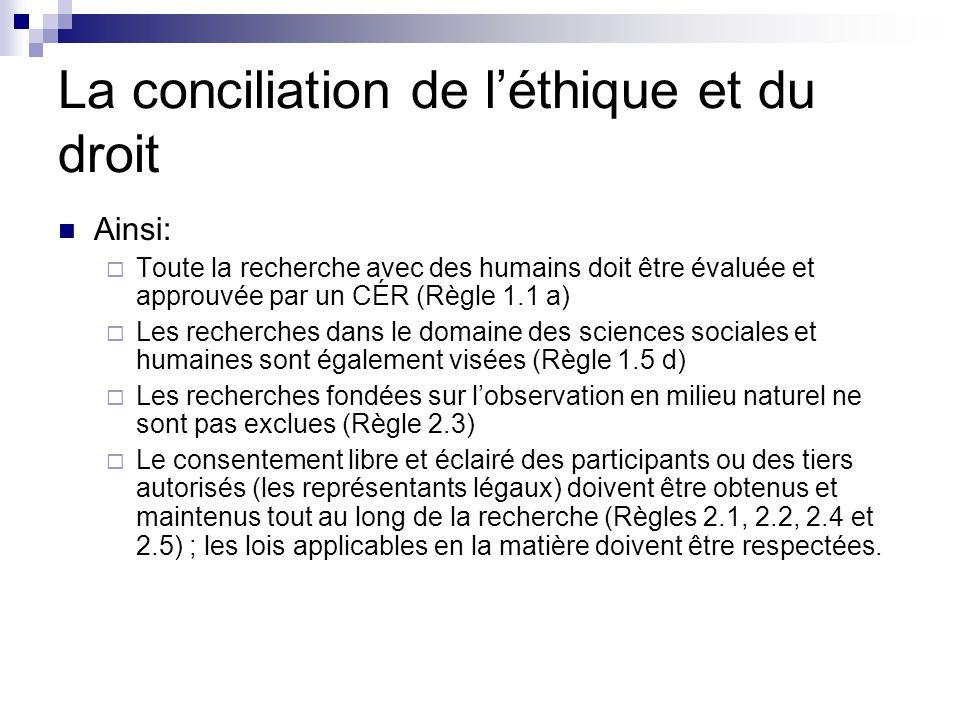 La conciliation de l'éthique et du droit Ainsi:  Toute la recherche avec des humains doit être évaluée et approuvée par un CÉR (Règle 1.1 a)  Les recherches dans le domaine des sciences sociales et humaines sont également visées (Règle 1.5 d)  Les recherches fondées sur l'observation en milieu naturel ne sont pas exclues (Règle 2.3)  Le consentement libre et éclairé des participants ou des tiers autorisés (les représentants légaux) doivent être obtenus et maintenus tout au long de la recherche (Règles 2.1, 2.2, 2.4 et 2.5) ; les lois applicables en la matière doivent être respectées.