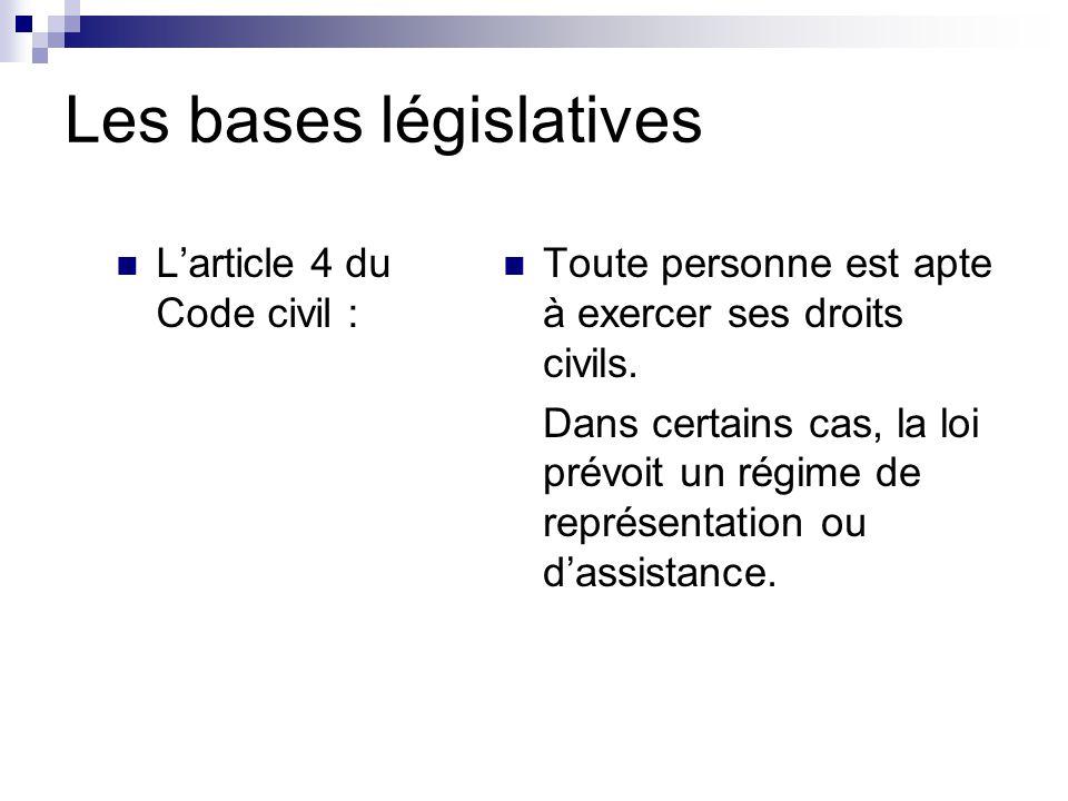 Les bases législatives L'article 4 du Code civil : Toute personne est apte à exercer ses droits civils.