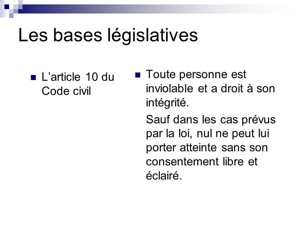 Les bases législatives L'article 10 du Code civil Toute personne est inviolable et a droit à son intégrité.
