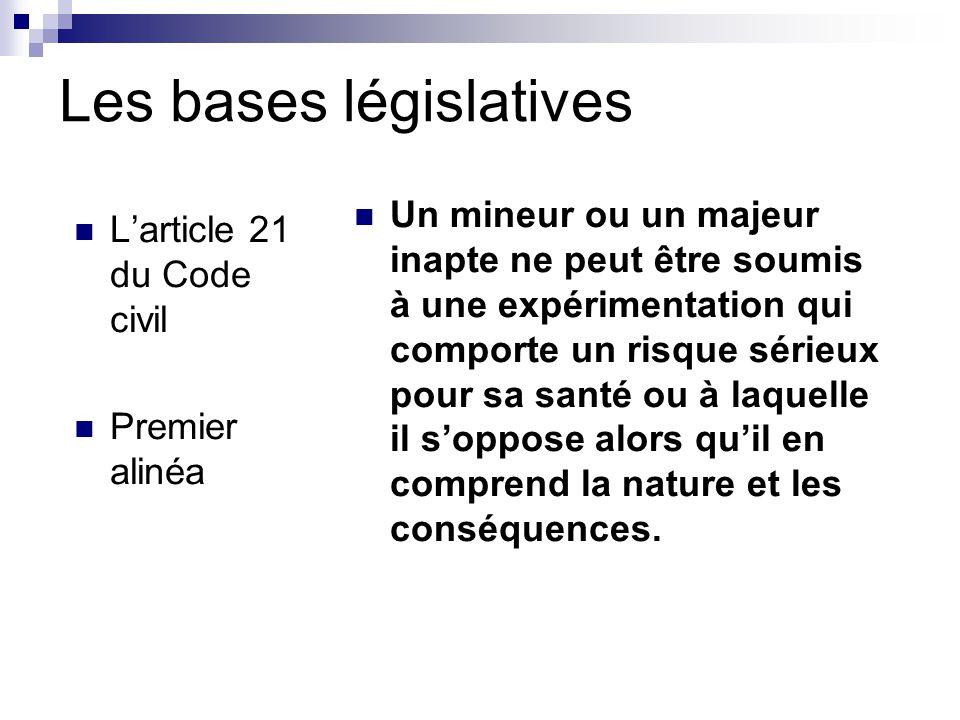 Les bases législatives L'article 21 du Code civil Premier alinéa Un mineur ou un majeur inapte ne peut être soumis à une expérimentation qui comporte un risque sérieux pour sa santé ou à laquelle il s'oppose alors qu'il en comprend la nature et les conséquences.