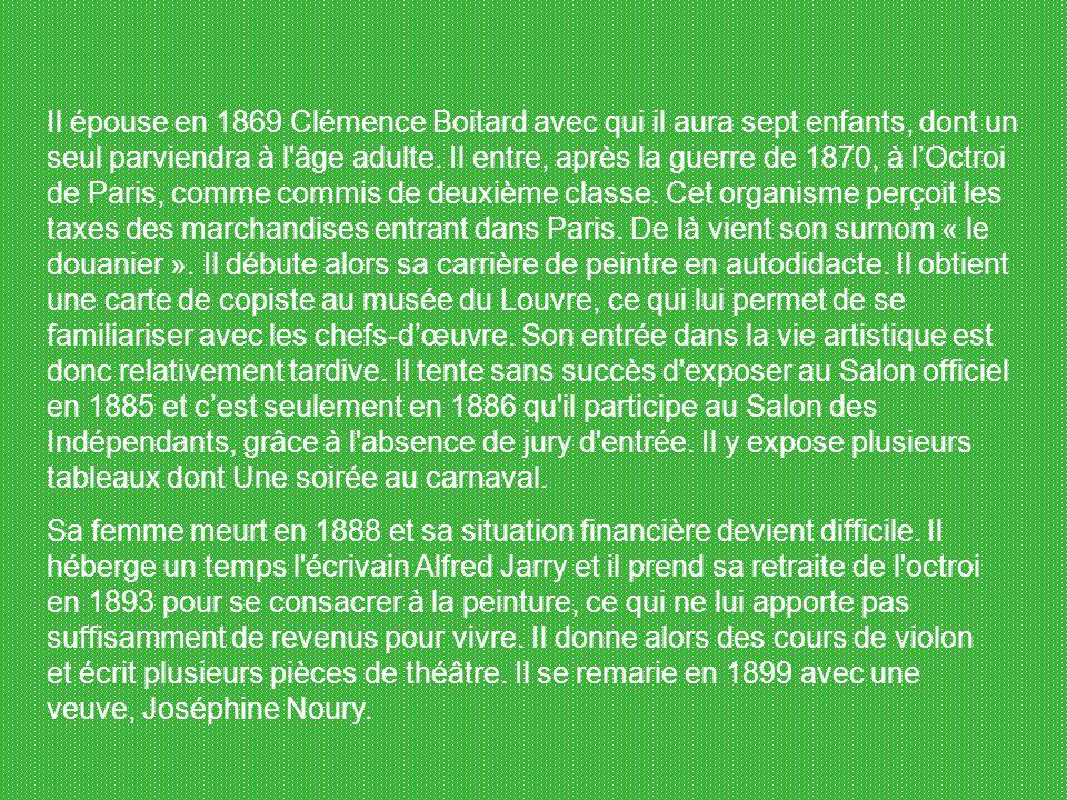 Henri Julien Félix Rousseau dit le Douanier Rousseau, né le 21 mai 1844 à Laval et mort le 2 septembre 1910 à Paris, est un peintre français. Il reste