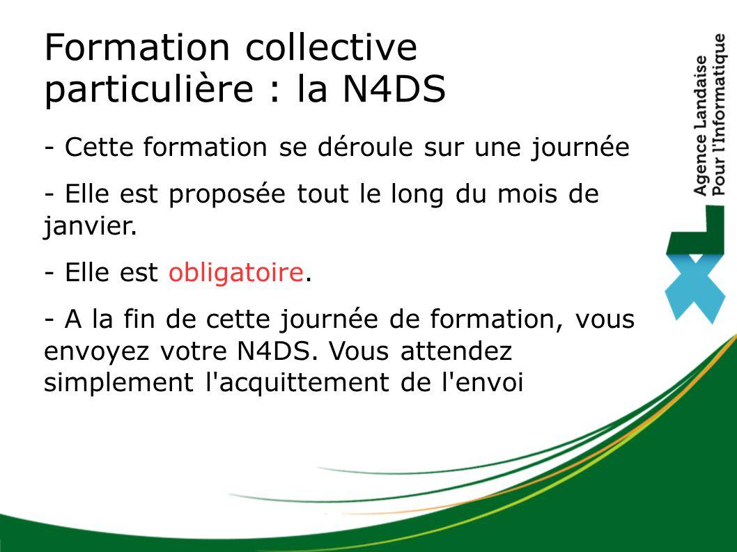 Formation collective particulière : la N4DS - Cette formation se déroule sur une journée - Elle est proposée tout le long du mois de janvier. - Elle e