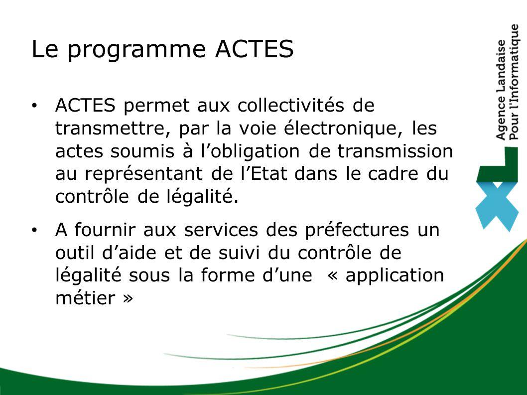 Le programme ACTES ACTES permet aux collectivités de transmettre, par la voie électronique, les actes soumis à l'obligation de transmission au représentant de l'Etat dans le cadre du contrôle de légalité.