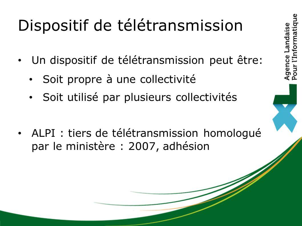 Dispositif de télétransmission Un dispositif de télétransmission peut être: Soit propre à une collectivité Soit utilisé par plusieurs collectivités ALPI : tiers de télétransmission homologué par le ministère : 2007, adhésion