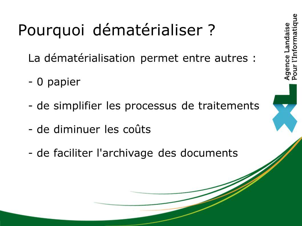 La dématérialisation permet entre autres : - 0 papier - de simplifier les processus de traitements - de diminuer les coûts - de faciliter l'archivage