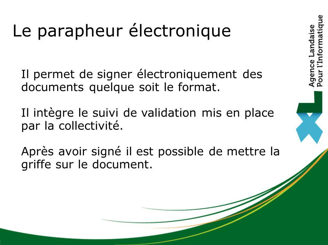 Il permet de signer électroniquement des documents quelque soit le format. Il intègre le suivi de validation mis en place par la collectivité. Après a