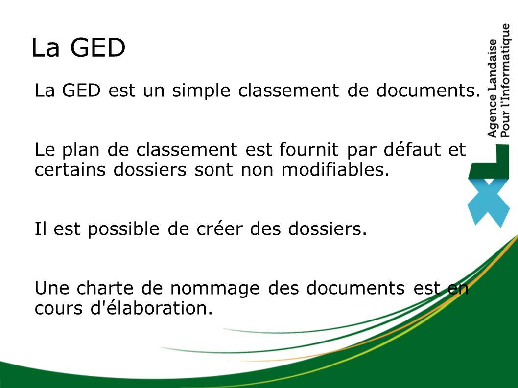 La GED est un simple classement de documents. Le plan de classement est fournit par défaut et certains dossiers sont non modifiables. Il est possible