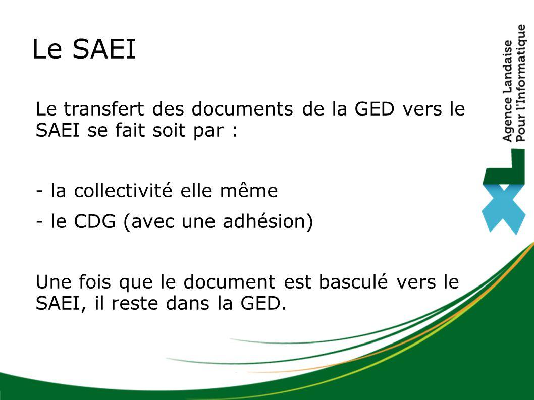Le transfert des documents de la GED vers le SAEI se fait soit par : - la collectivité elle même - le CDG (avec une adhésion) Une fois que le document est basculé vers le SAEI, il reste dans la GED.