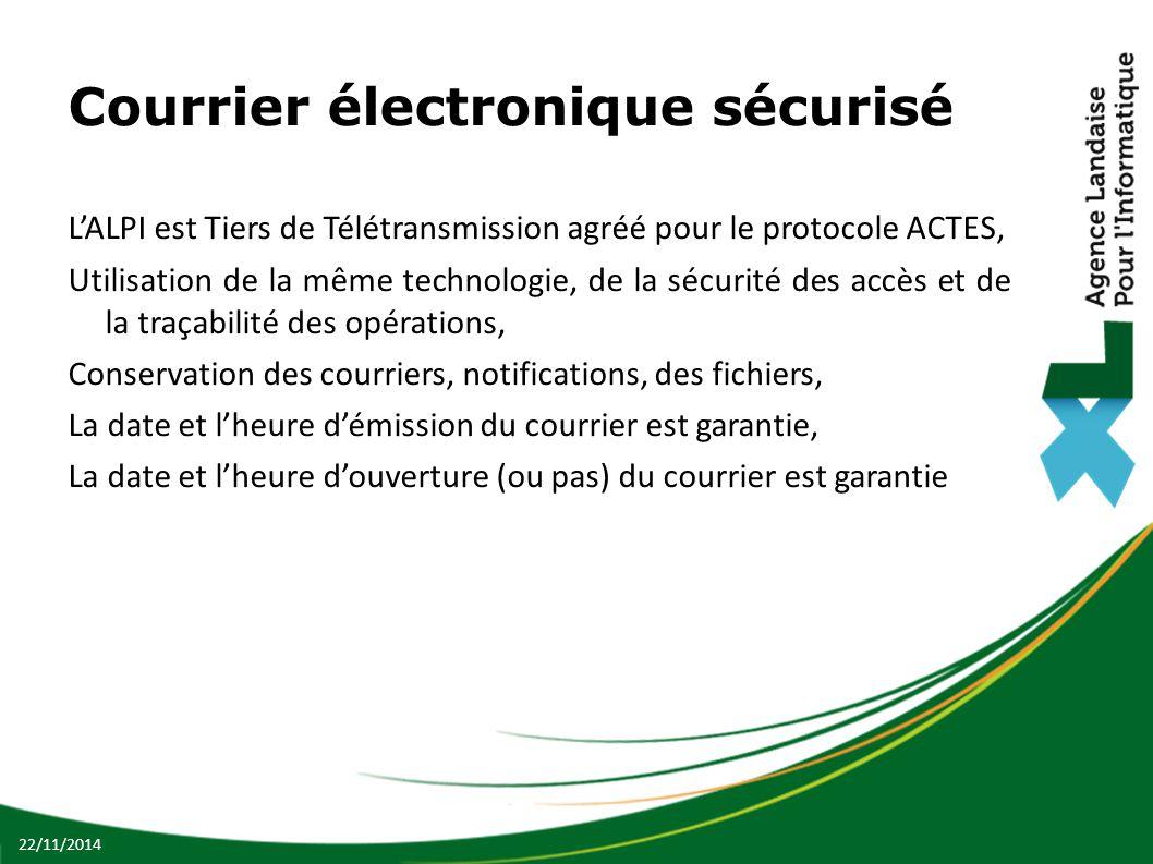 Courrier électronique sécurisé L'ALPI est Tiers de Télétransmission agréé pour le protocole ACTES, Utilisation de la même technologie, de la sécurité des accès et de la traçabilité des opérations, Conservation des courriers, notifications, des fichiers, La date et l'heure d'émission du courrier est garantie, La date et l'heure d'ouverture (ou pas) du courrier est garantie 22/11/2014