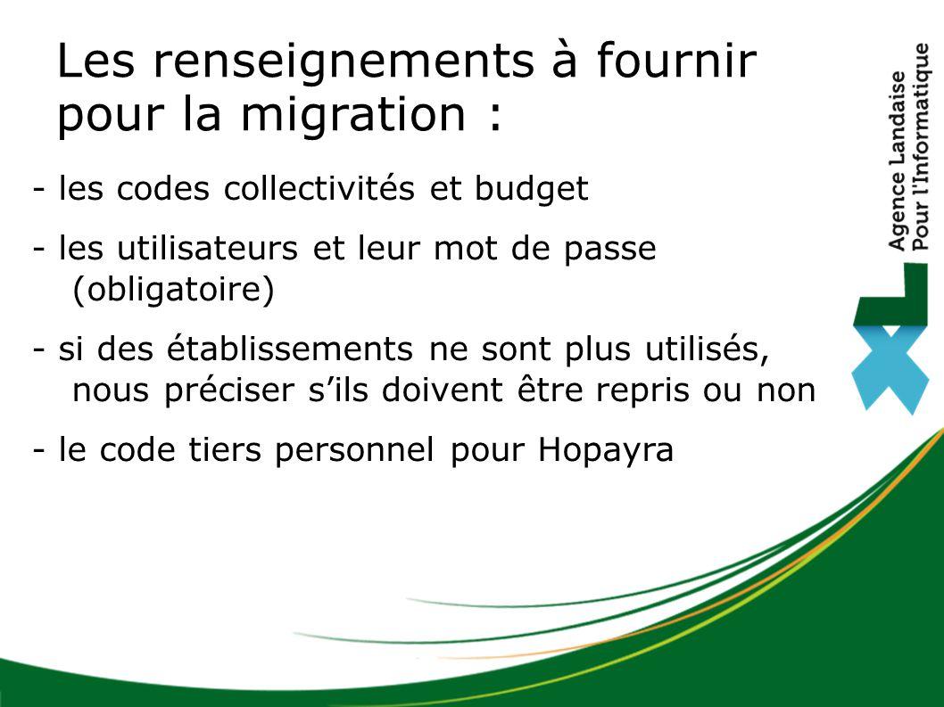 Les renseignements à fournir pour la migration : - les codes collectivités et budget - les utilisateurs et leur mot de passe (obligatoire) - si des établissements ne sont plus utilisés, nous préciser s'ils doivent être repris ou non - le code tiers personnel pour Hopayra