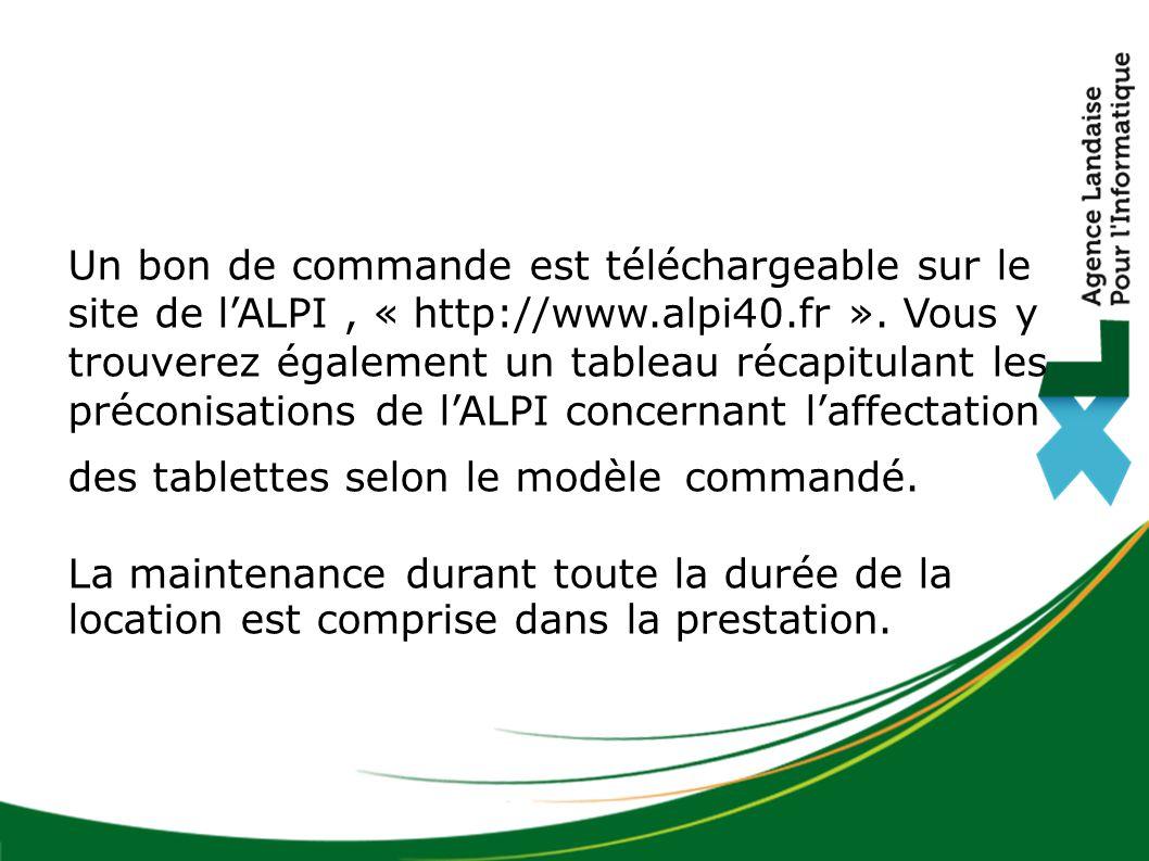Un bon de commande est téléchargeable sur le site de l'ALPI, « http://www.alpi40.fr ». Vous y trouverez également un tableau récapitulant les préconis