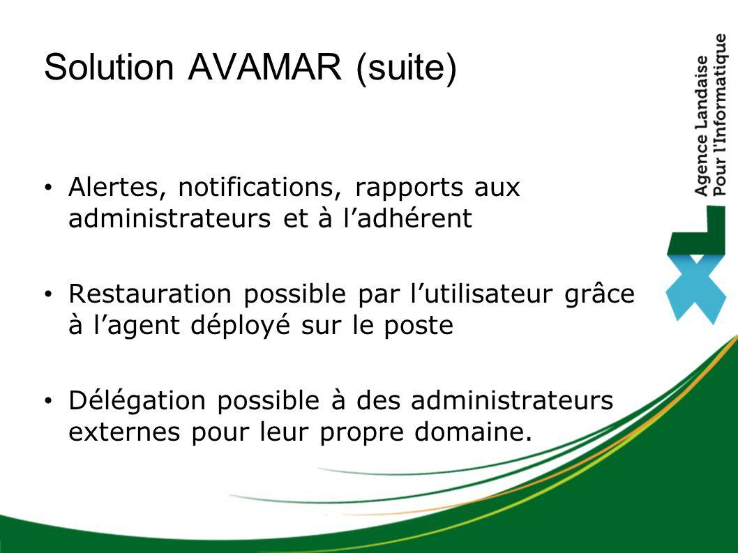 Alertes, notifications, rapports aux administrateurs et à l'adhérent Restauration possible par l'utilisateur grâce à l'agent déployé sur le poste Délégation possible à des administrateurs externes pour leur propre domaine.