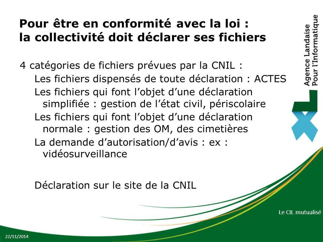 Le CIL mutualisé Pour être en conformité avec la loi : la collectivité doit déclarer ses fichiers 4 catégories de fichiers prévues par la CNIL : Les f