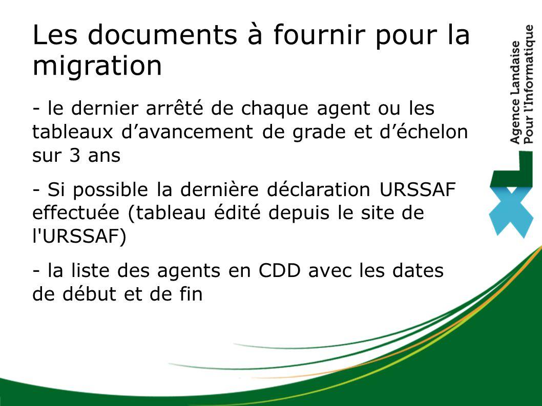 Les documents à fournir pour la migration - le dernier arrêté de chaque agent ou les tableaux d'avancement de grade et d'échelon sur 3 ans - Si possib