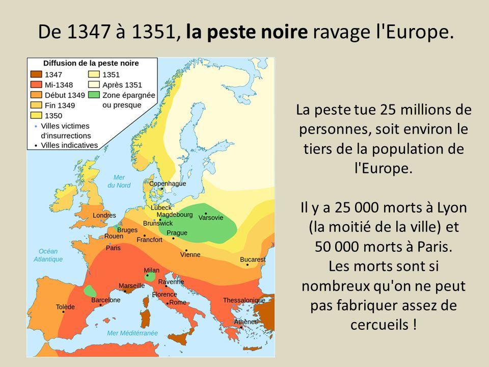 De 1347 à 1351, la peste noire ravage l'Europe. La peste tue 25 millions de personnes, soit environ le tiers de la population de l'Europe. Il y a 25 0