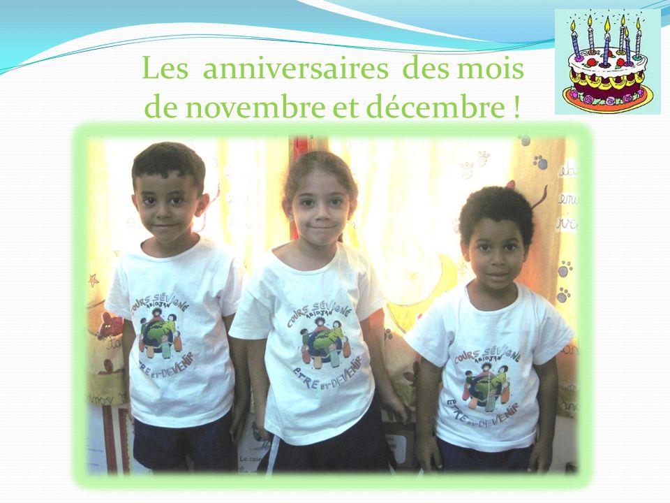 Les anniversaires des mois de novembre et décembre !
