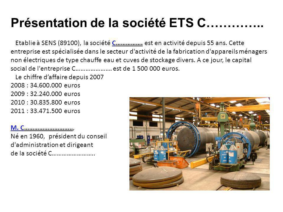 Présentation de la société ETS C………….. Etablie à SENS (89100), la société C…………….