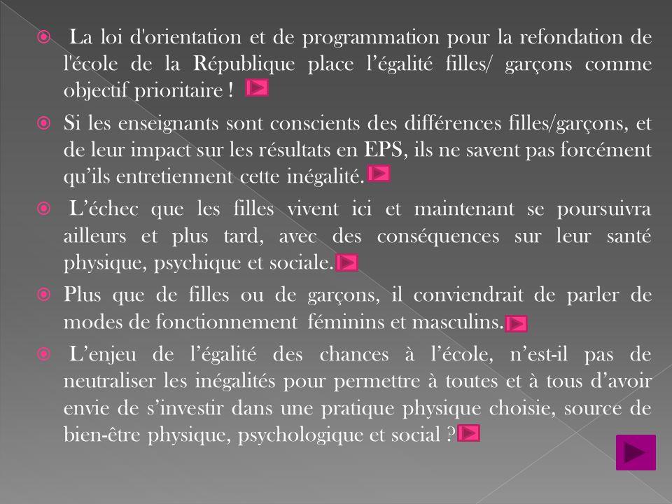  La loi d'orientation et de programmation pour la refondation de l'école de la République place l'égalité filles/ garçons comme objectif prioritaire