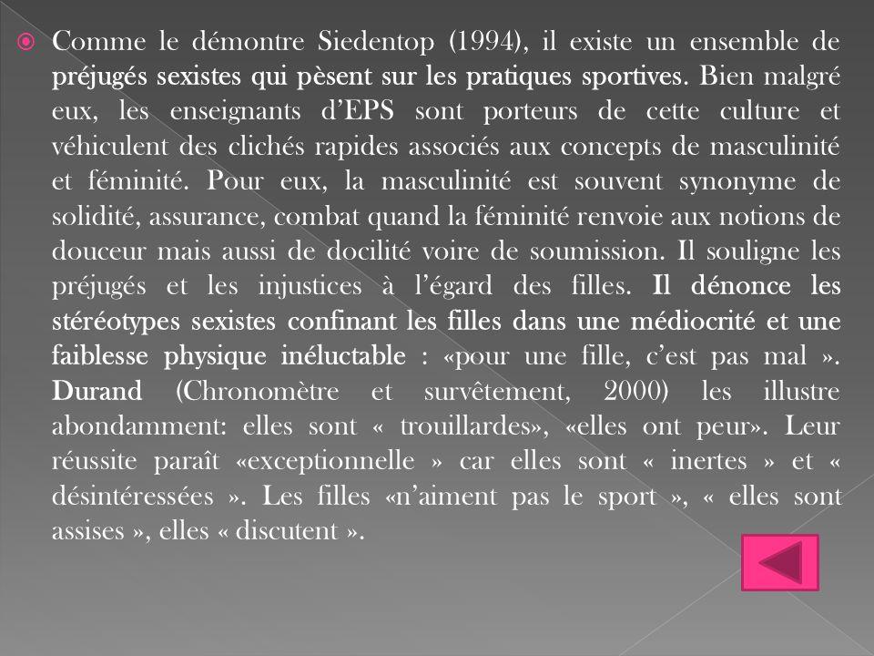  Comme le démontre Siedentop (1994), il existe un ensemble de préjugés sexistes qui pèsent sur les pratiques sportives. Bien malgré eux, les enseigna