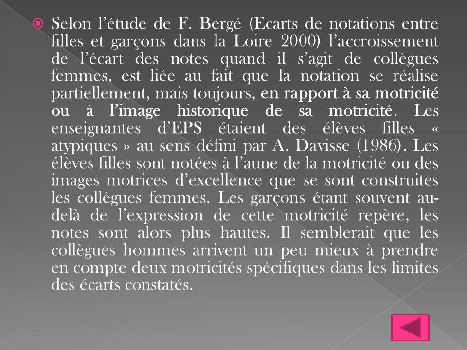  Selon l'étude de F. Bergé (Ecarts de notations entre filles et garçons dans la Loire 2000) l'accroissement de l'écart des notes quand il s'agit de c