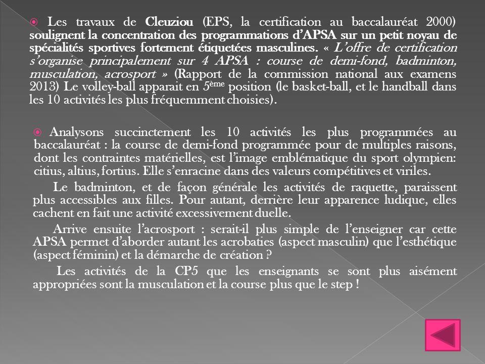  Les travaux de Cleuziou (EPS, la certification au baccalauréat 2000) soulignent la concentration des programmations d'APSA sur un petit noyau de spé