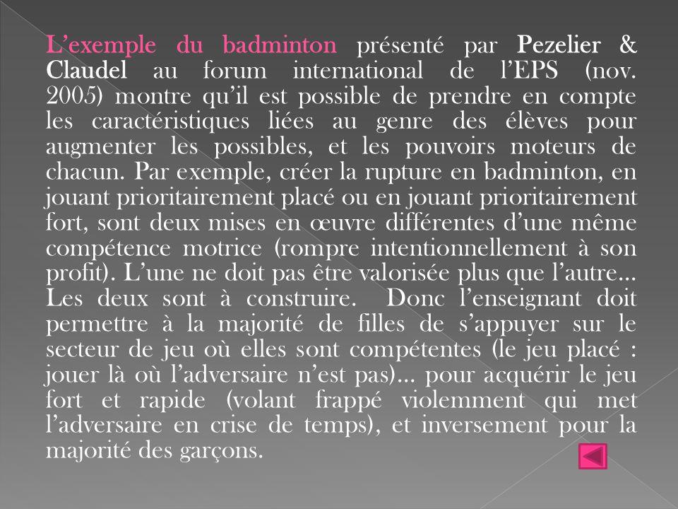 L'exemple du badminton présenté par Pezelier & Claudel au forum international de l'EPS (nov. 2005) montre qu'il est possible de prendre en compte les