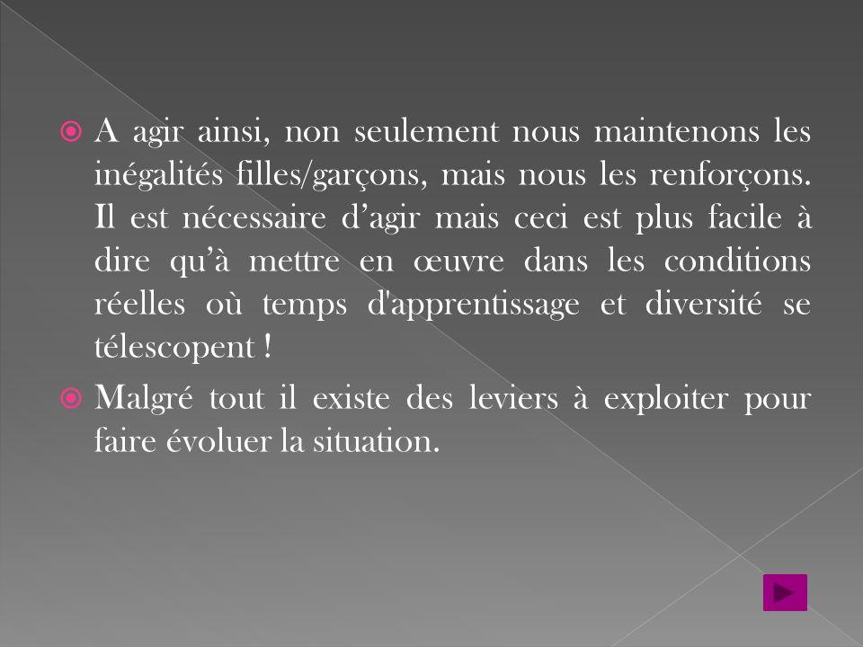 La sédentarité croissante provoque de graves conséquences sur la santé ; elle concerne majoritairement les filles « moins d un adolescent sur deux (15-17 ans), précisément 43,2 %, atteint un niveau d activité physique entraînant des bénéfices pour la santé, avec une forte différence entre les deux sexes : plus de six garçons sur dix, contre moins d une fille sur quatre » (Rapport de l'Agence Française de Sécurité Sanitaire des Aliments, in Le Monde 25/08/2009, P.