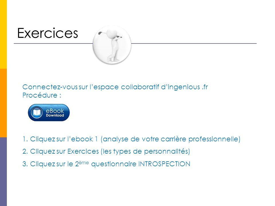 Exercices Connectez-vous sur l'espace collaboratif d'ingenious.fr Procédure : 1.