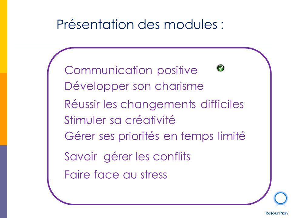 Présentation des modules : Développer son charisme Communication positive Faire face au stress Stimuler sa créativité Gérer ses priorités en temps limité Savoir gérer les conflits Réussir les changements difficiles