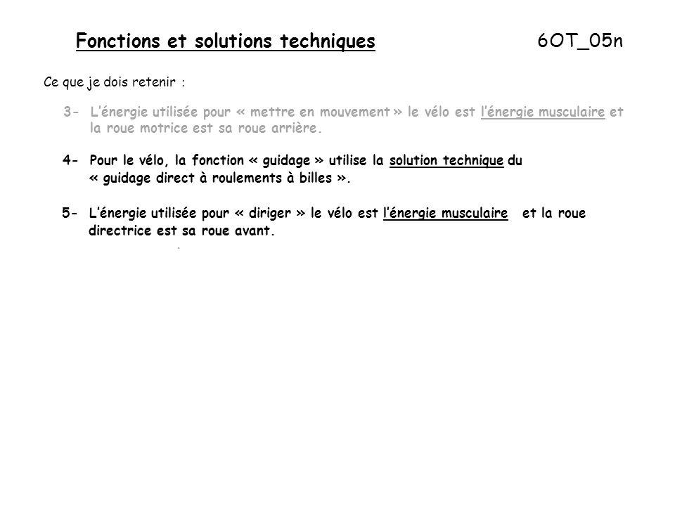Fonctions et solutions techniques 6OT_05n Ce que je dois retenir : 3- L'énergie utilisée pour « mettre en mouvement » le vélo est l'énergie musculaire