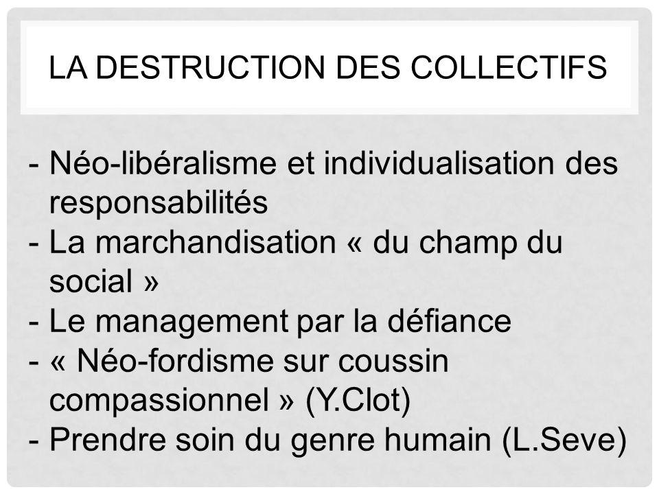 LA DESTRUCTION DES COLLECTIFS -Néo-libéralisme et individualisation des responsabilités -La marchandisation « du champ du social » -Le management par