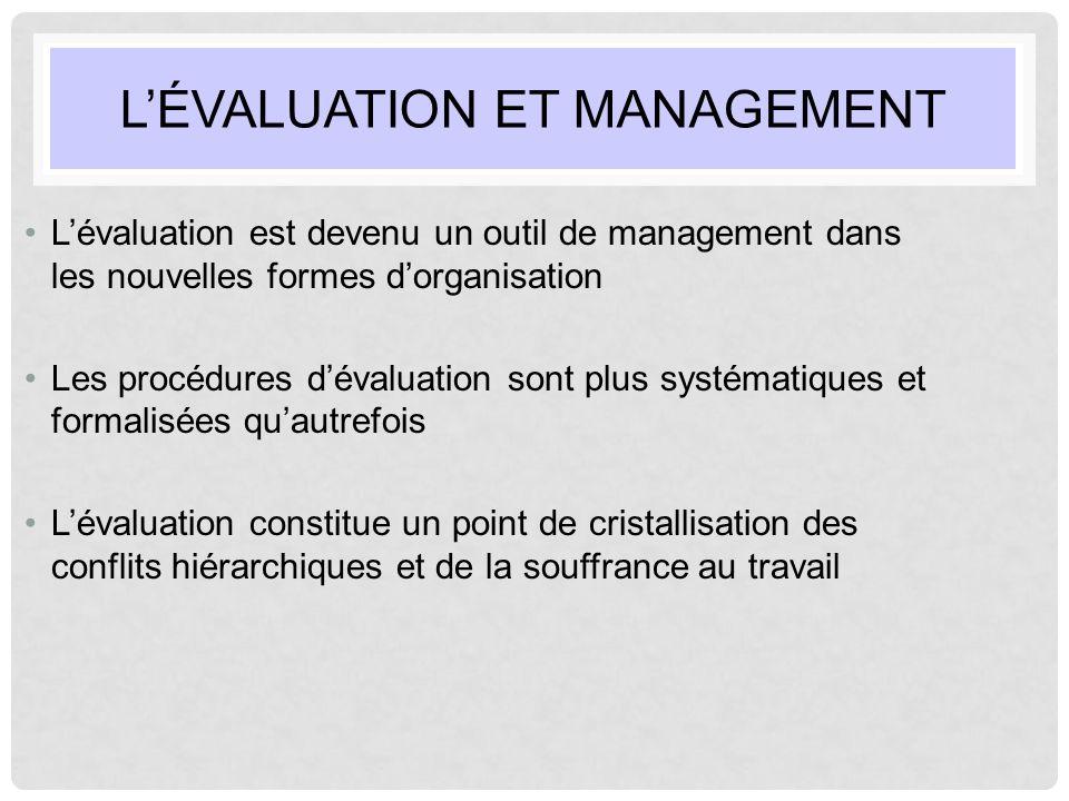 L'ÉVALUATION ET MANAGEMENT L'évaluation est devenu un outil de management dans les nouvelles formes d'organisation Les procédures d'évaluation sont pl